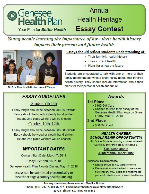Ghp Announces Third Annual Health Heritage Essay Contest Healthcare News