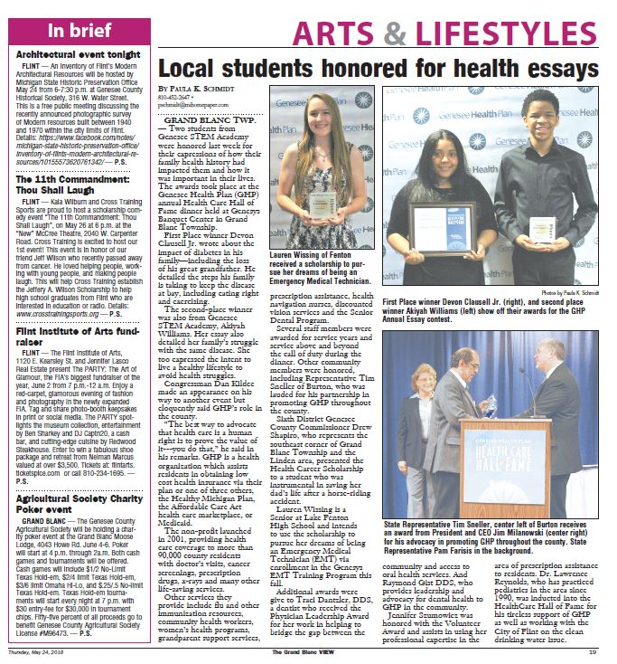grand blanc view local students honored for health essays healthcare news